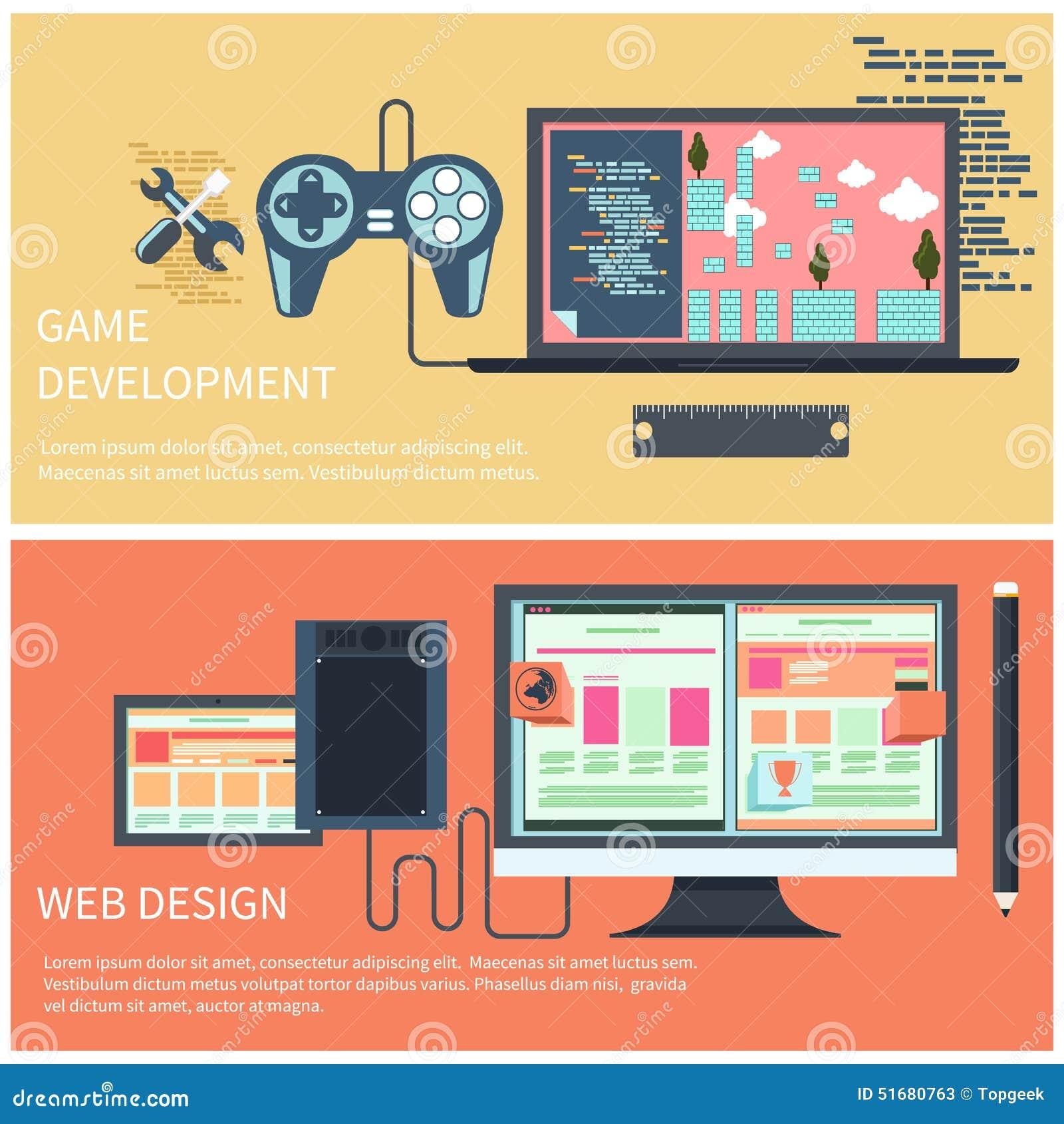 Web Design And Development Concept Cartoon Vector