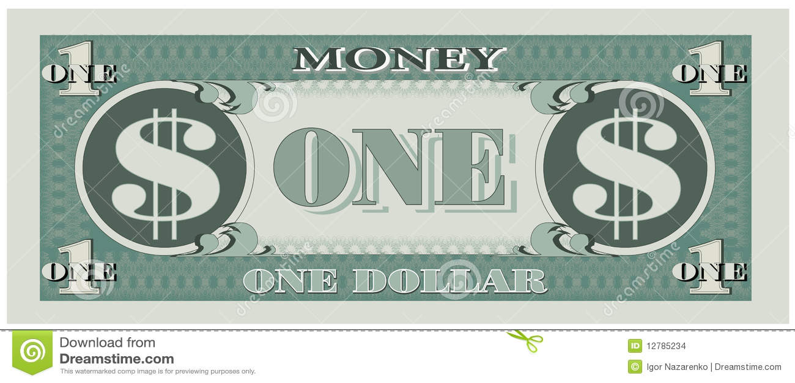 game money - one dollar bill stock vector