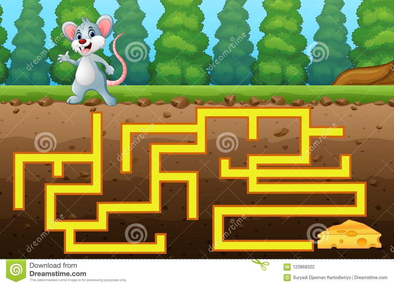 game mouse maze find way to the cheese stock illustration