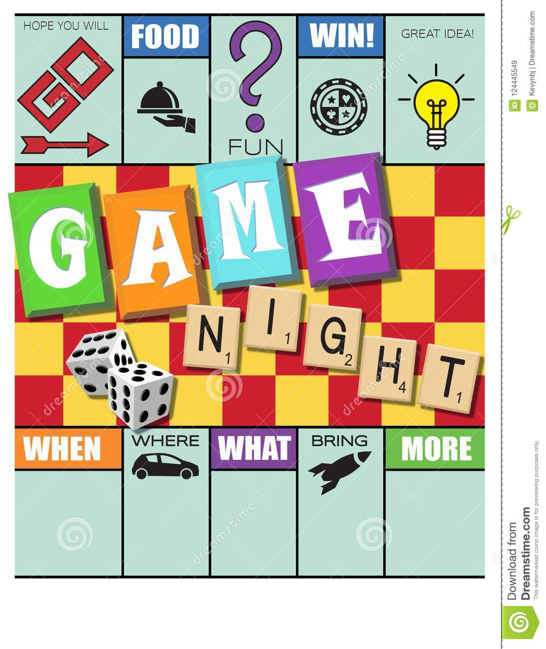Game Night Invitation Monopoly Style With Scrabble And Dice Stock