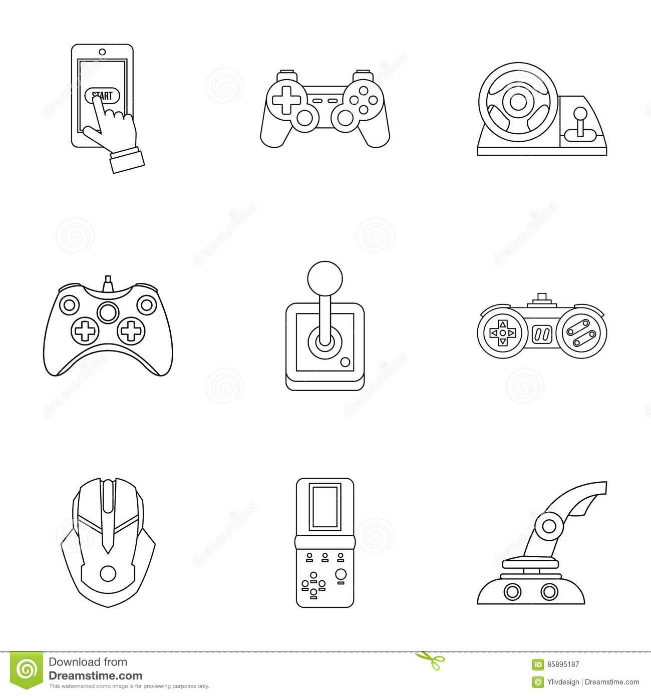 Game Online Icons Set Outline Style Stock Vector Illustration Of - Game outline