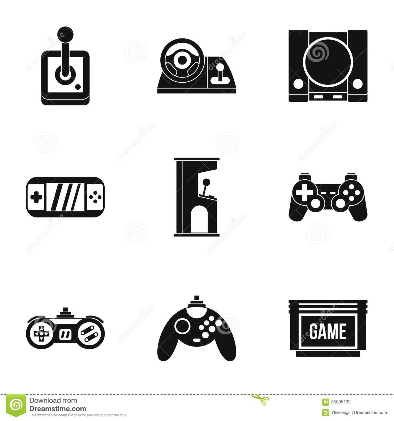 Game Online Icons Set, Simple Style Stock Vector