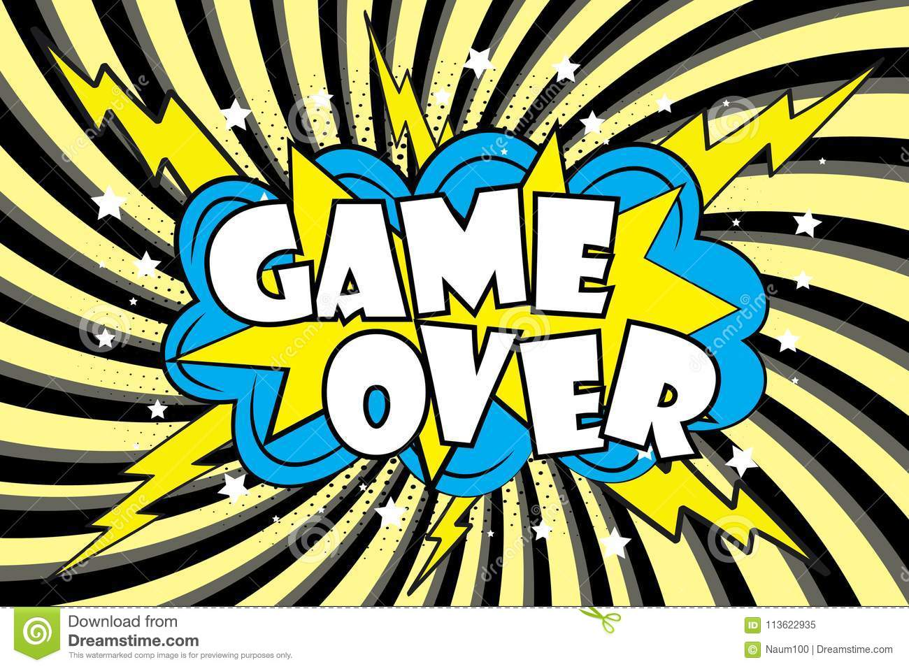 Game Over Comic Sound Effects In Pop Art Style Stock Vector