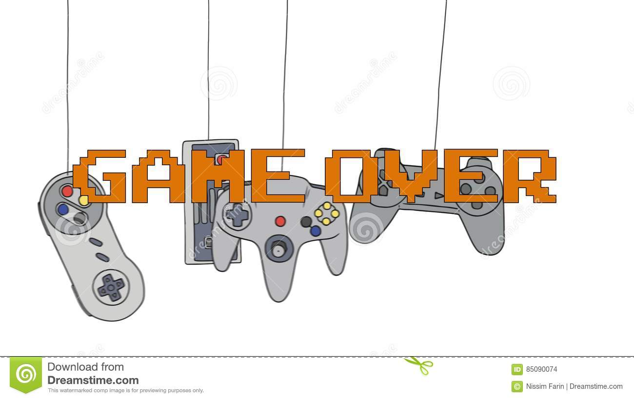 Game Over On Different Joysticks Background Hanging Their Wire Joystick Wiring Diagram Stock Footage Video Of Gadget Elements 85090074