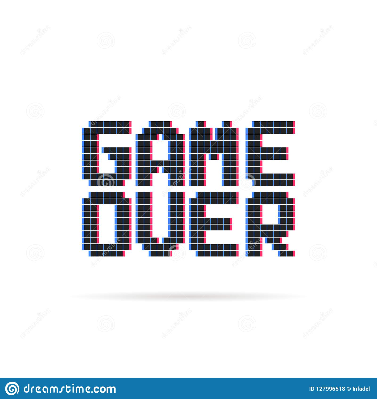 Game Over Logo Like Glitch Pixel Art Style Stock Vector