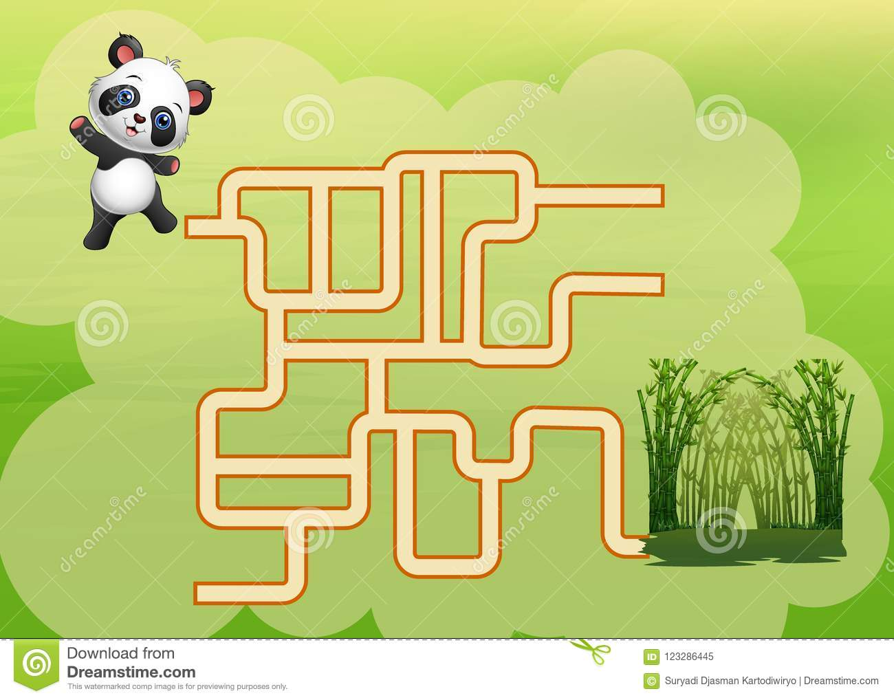 game panda maze find their way to the bamboo forest stock vector
