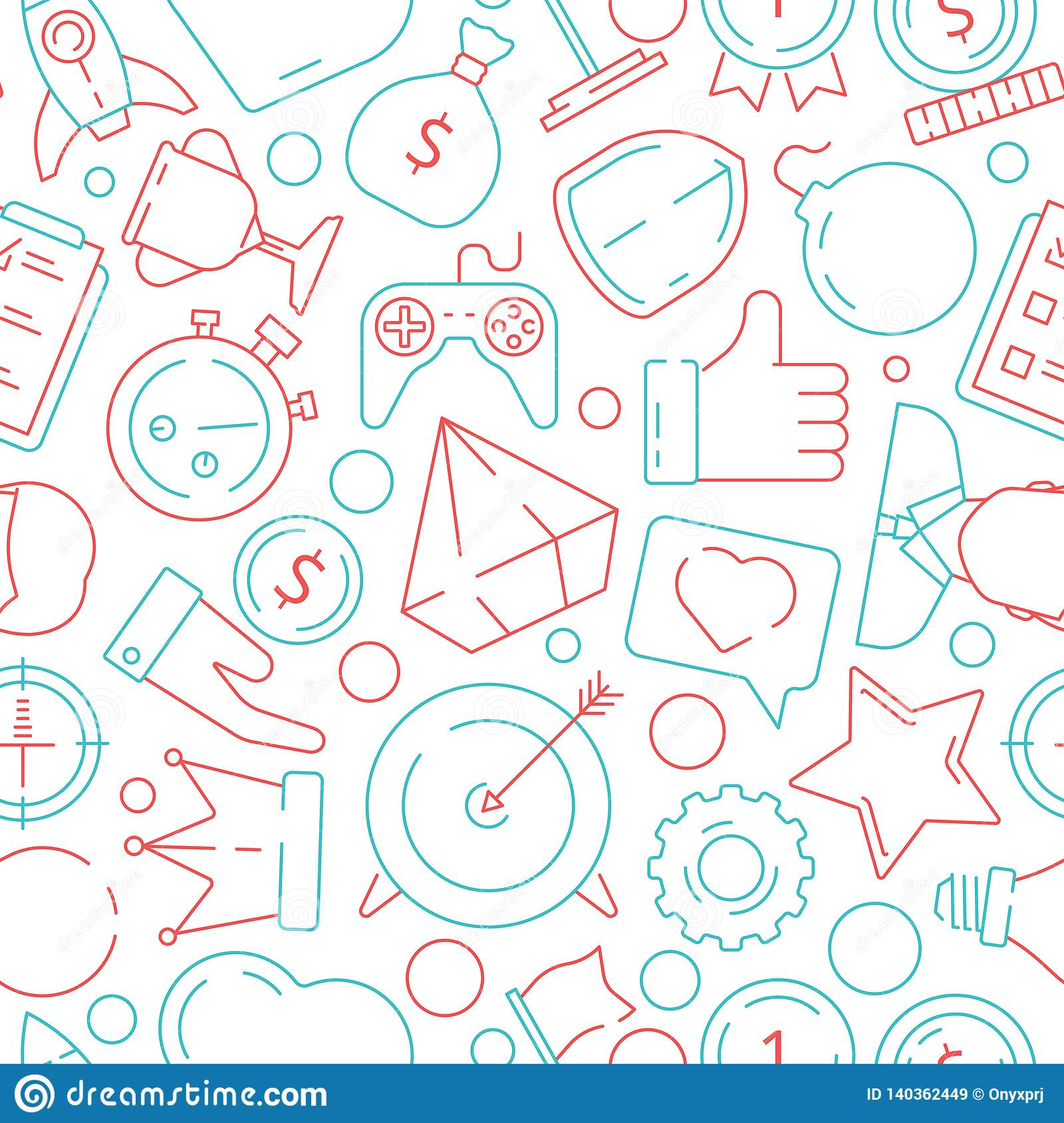 Game pattern. Gamification business symbols achivement rulers motivation challenge vector seamless background
