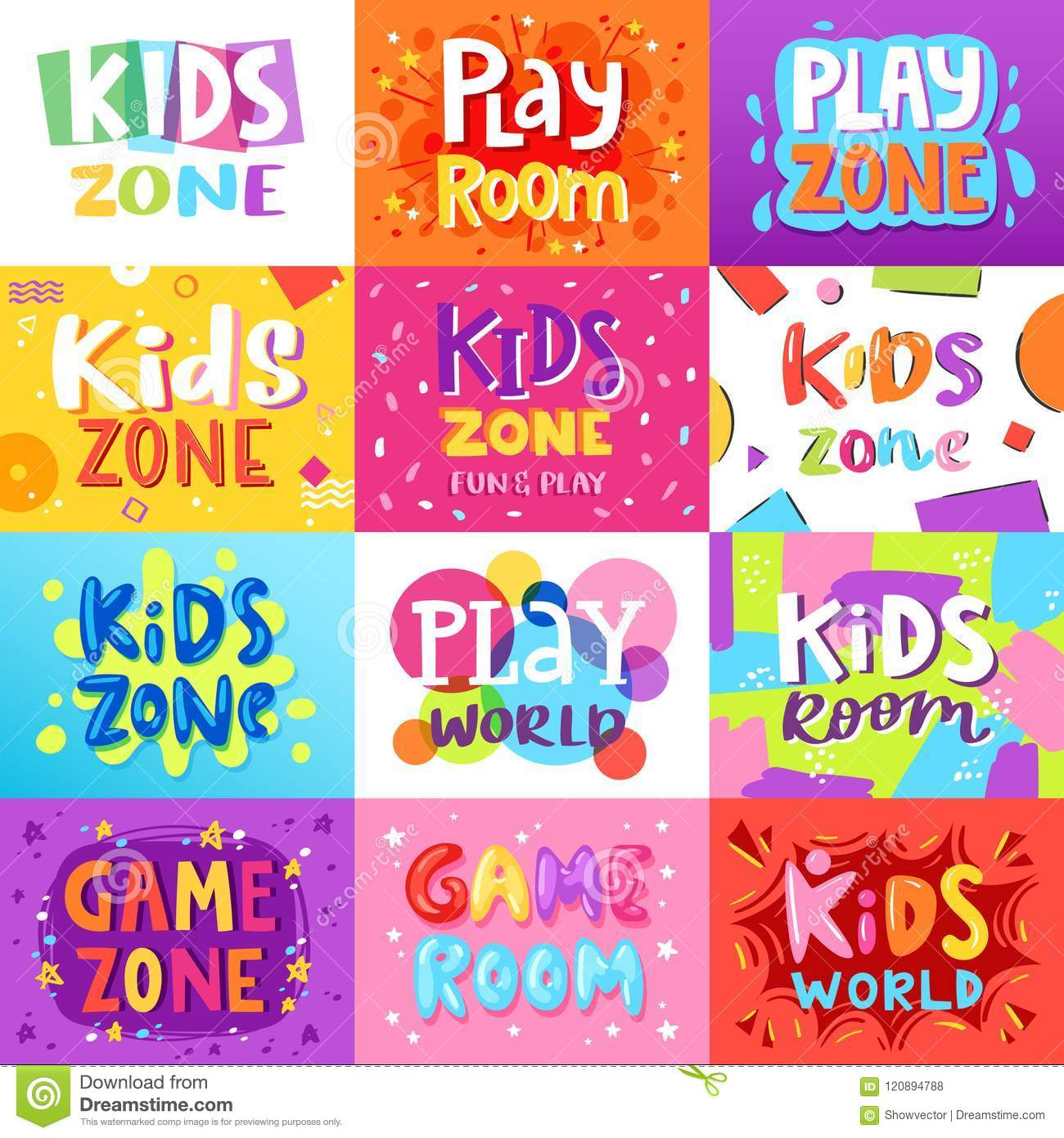 Kids Room Decoration Space Theme Vector Illustration: Game Room Vector Kids Playroom Banner In Cartoon Style For