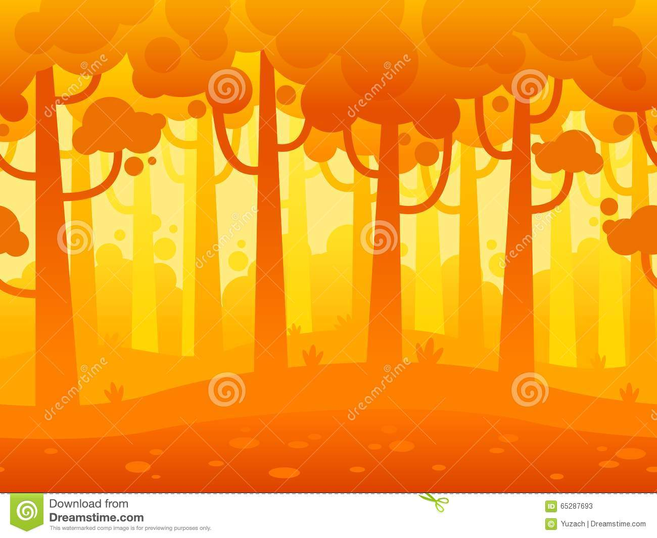 Game Seamless Horizontal Forest Background Stock Vector