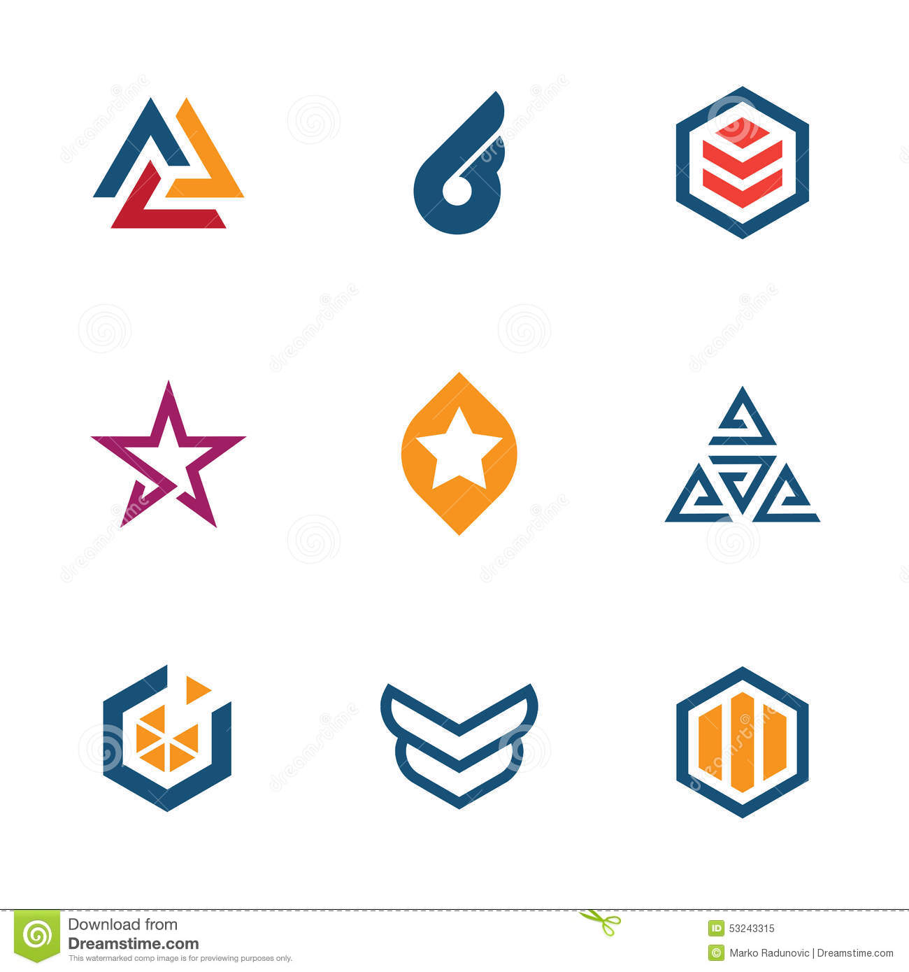 the game of star success business company logo icon set stock