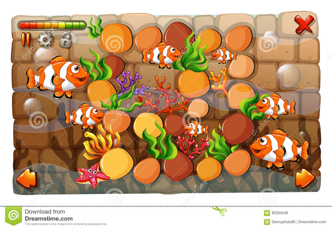 game template with clownfish swimming in background stock