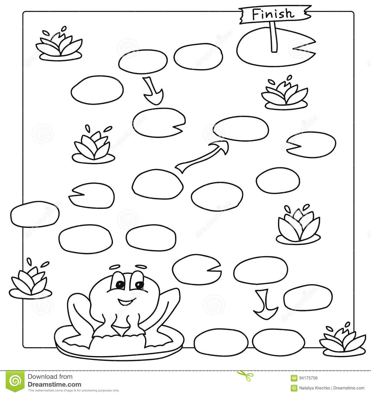 Game Template With Frog. Vector Coloring Book Pages For Children ...