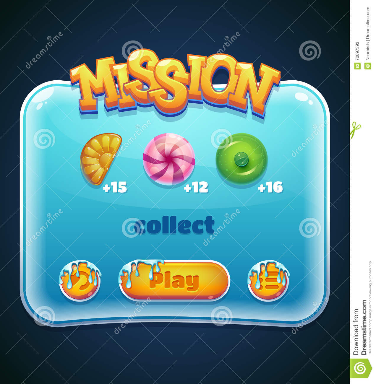 Game Window For Mission Computer App Stock Vector
