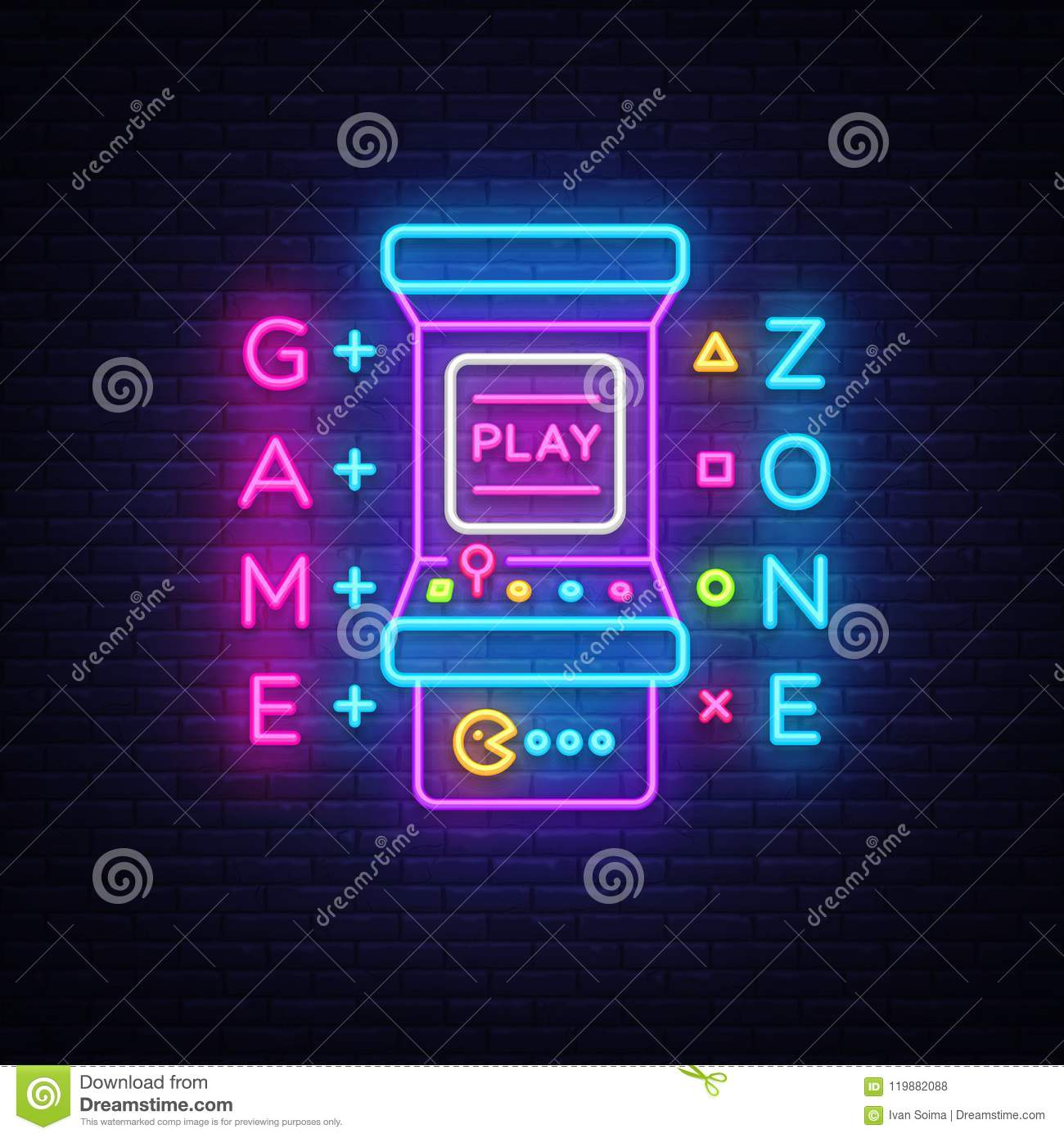 Game Zone Logo Vector Neon Game Room Neon Sign Board Design Template Gaming Industry Advertising Gaming Machine Stock Vector Illustration Of Phone Bright 119882088