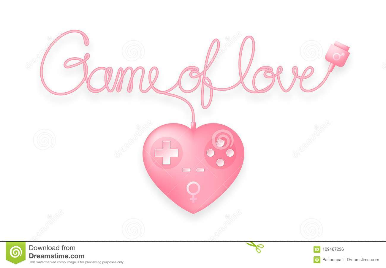 Gamepad Or Joypad Heart Shape Pink Color With Male Female Gender