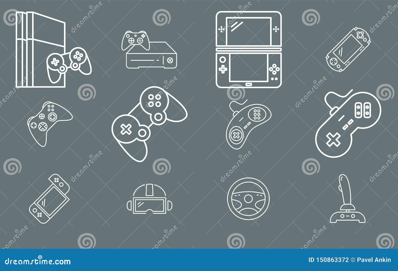 Gamepad och modig konsol - fastställd vektoröversikt för symboler för rengöringsduk eller mobil 01
