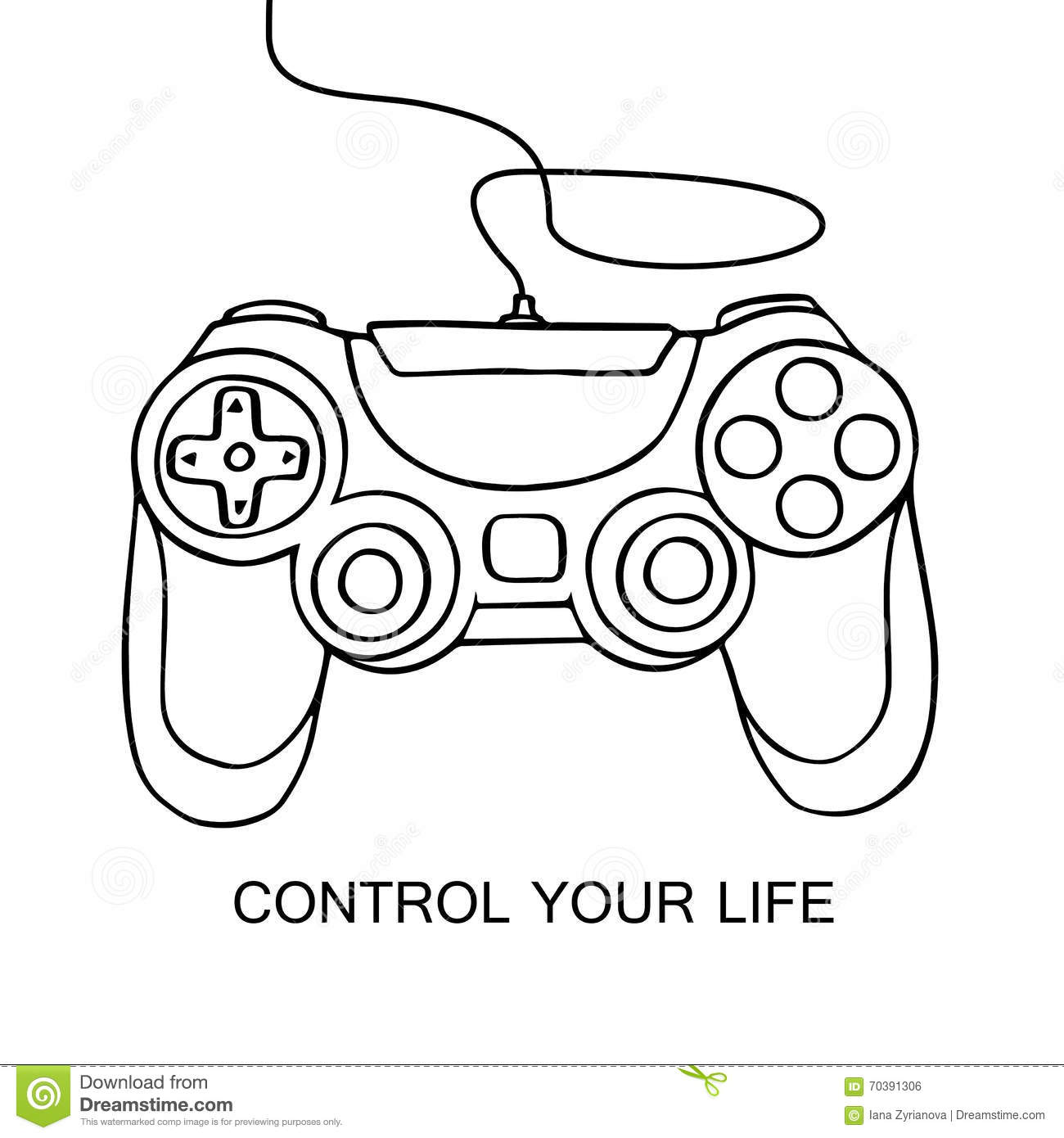 Gamepad Sketch Icon. Hand Drawn Vector Illustration