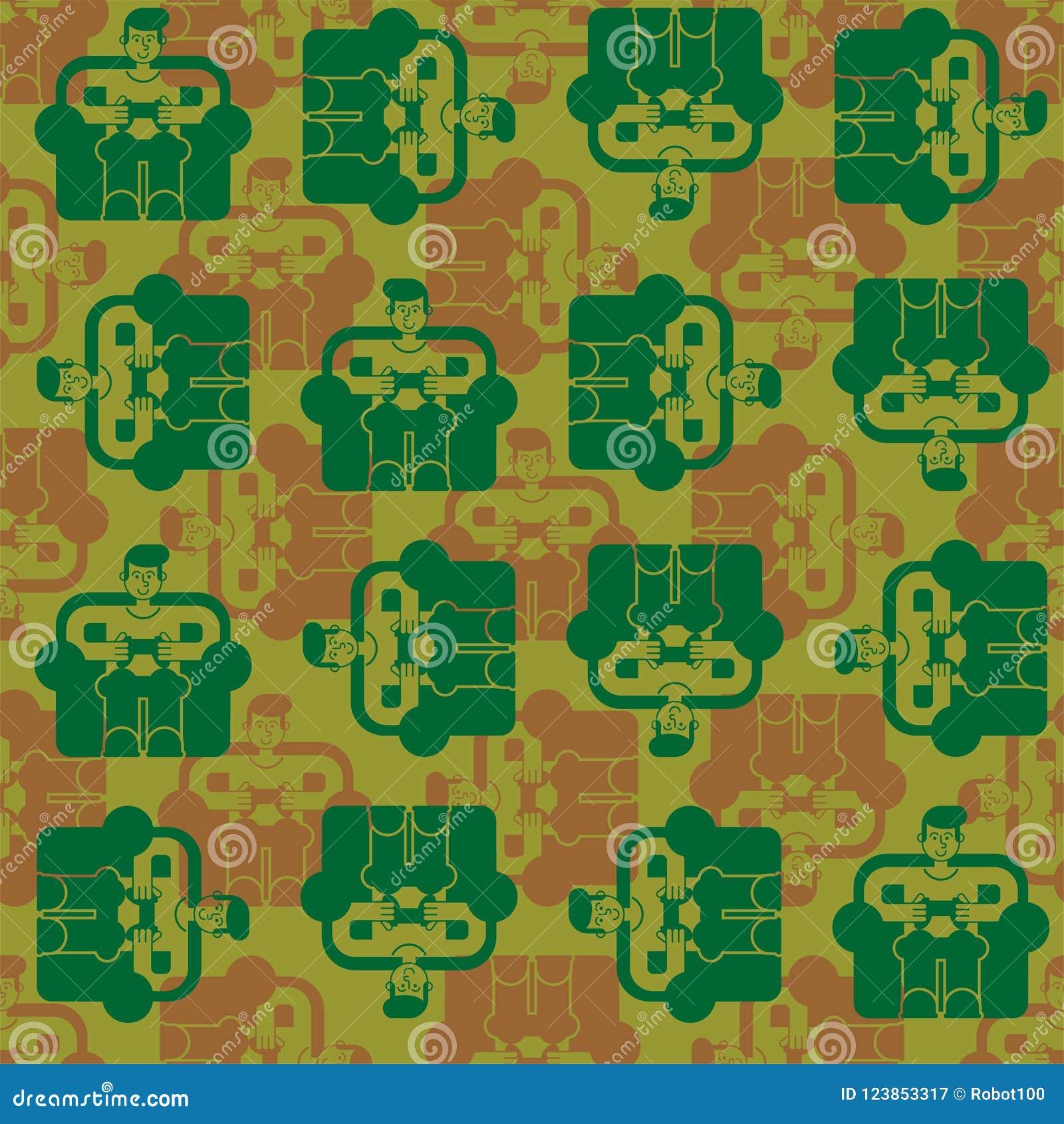 Gamer Army Pattern Seamless Military Ornament Cibersport