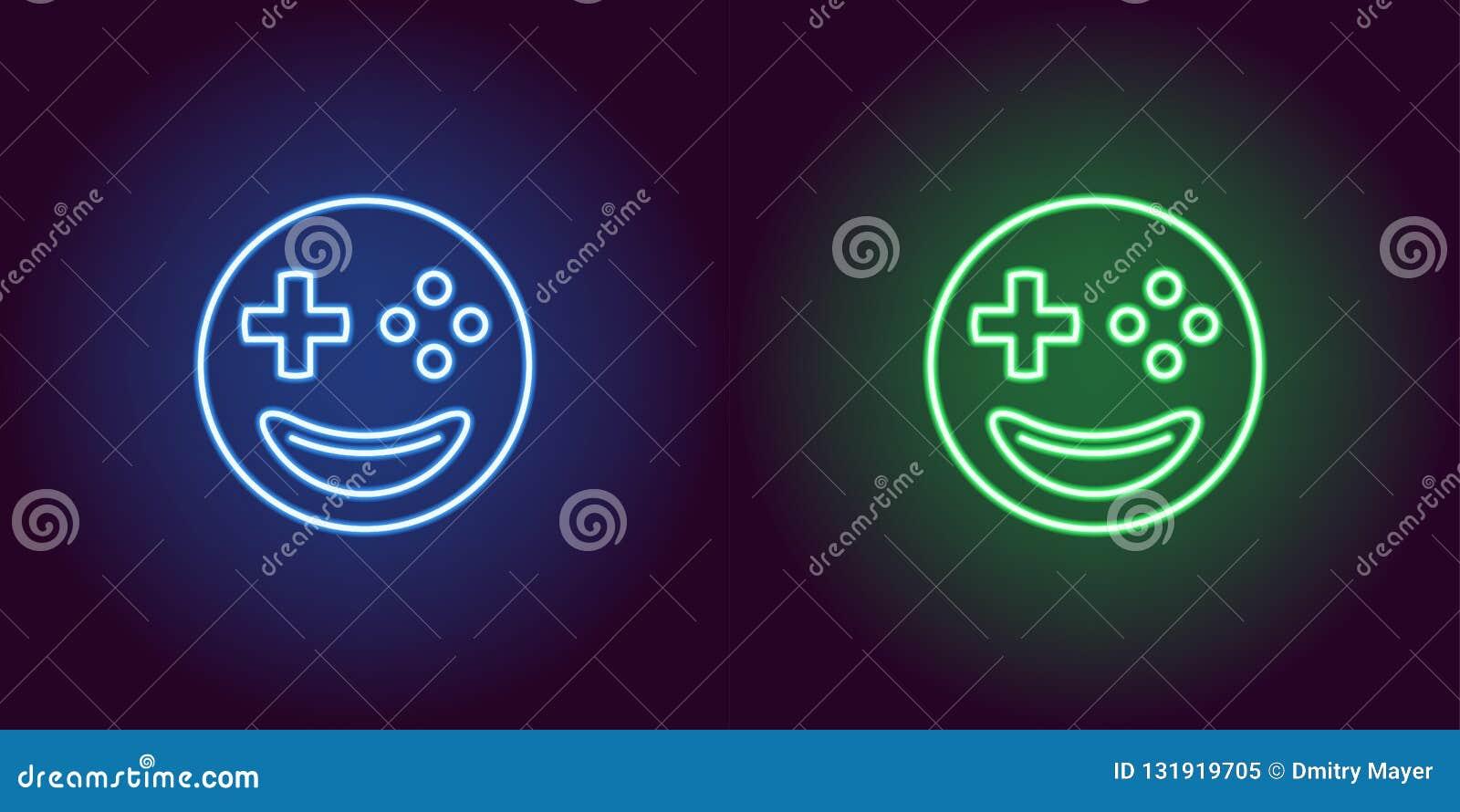 Gamer de néon do emoji, sinal de incandescência Ícone do emoji do vetor
