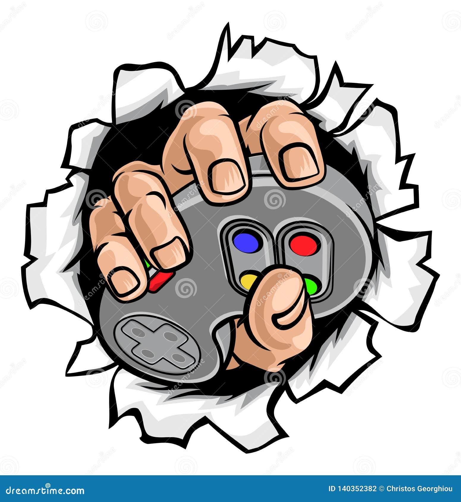 Gamer-Hand und Videospiel-Kontrolleur Breaking Wall