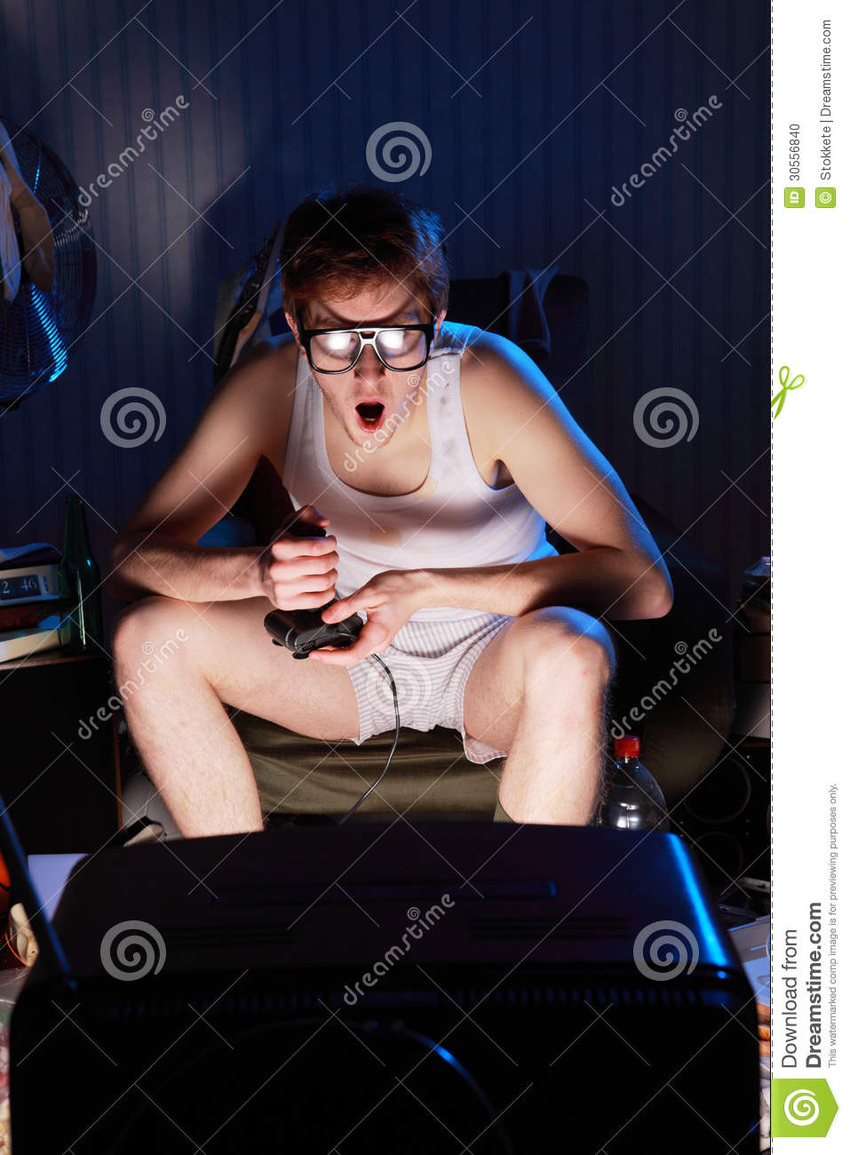 Gamer Nerd Playing Video Games On Television Stock Photo