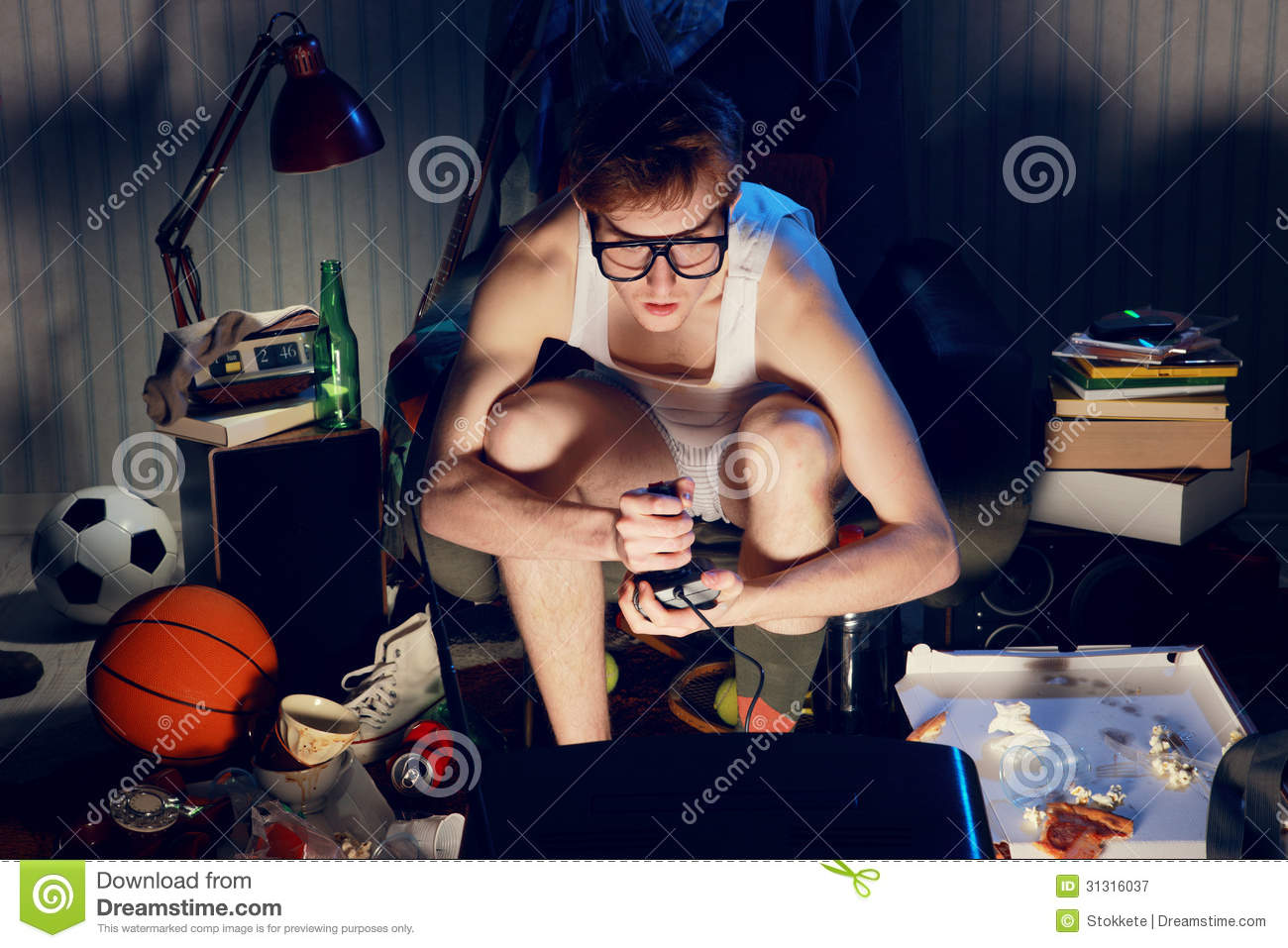 Gamer Nerd Playing Video Games On Television Royalty Free