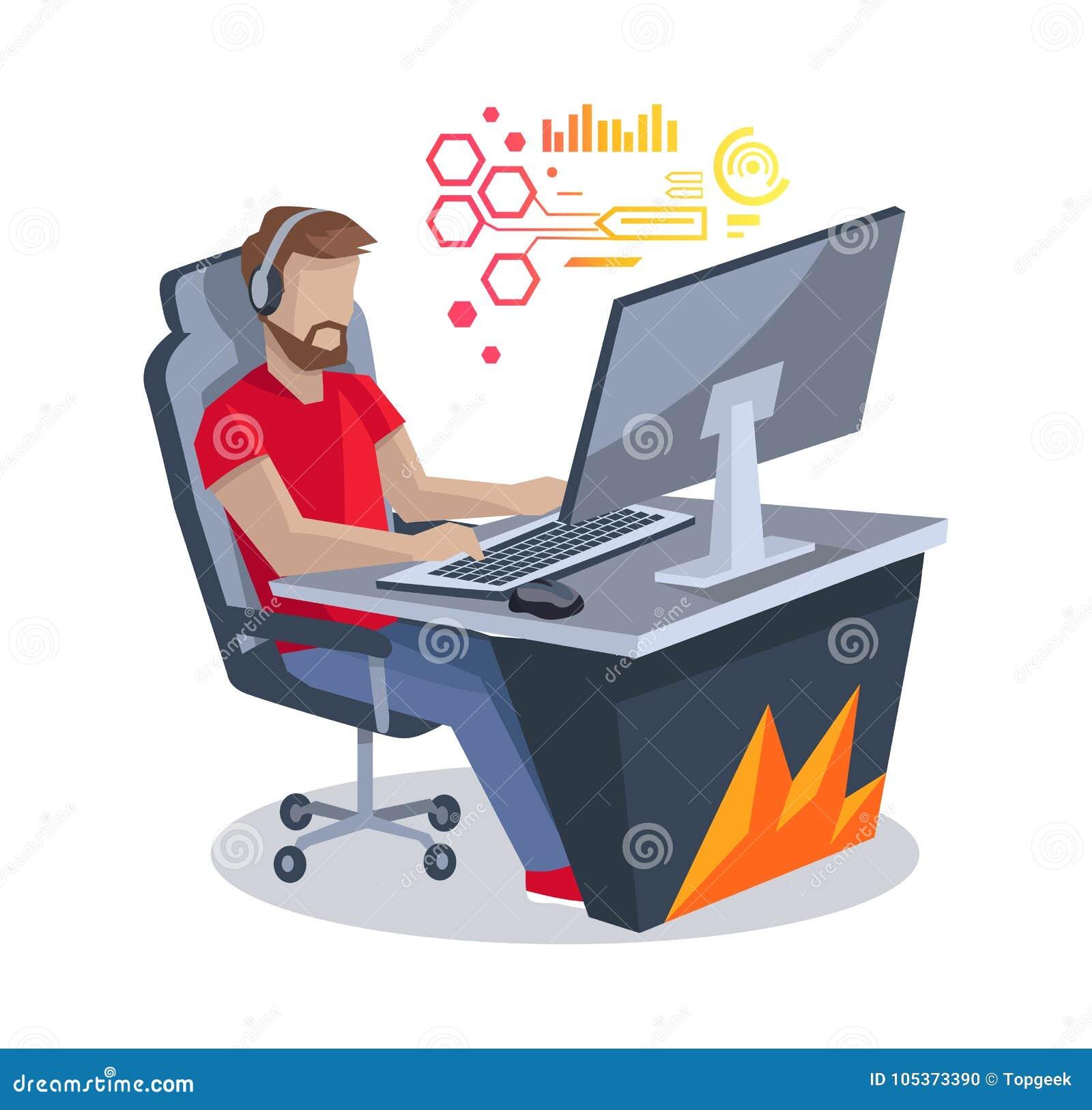 Gamer vor Computer-Vektor-Illustration
