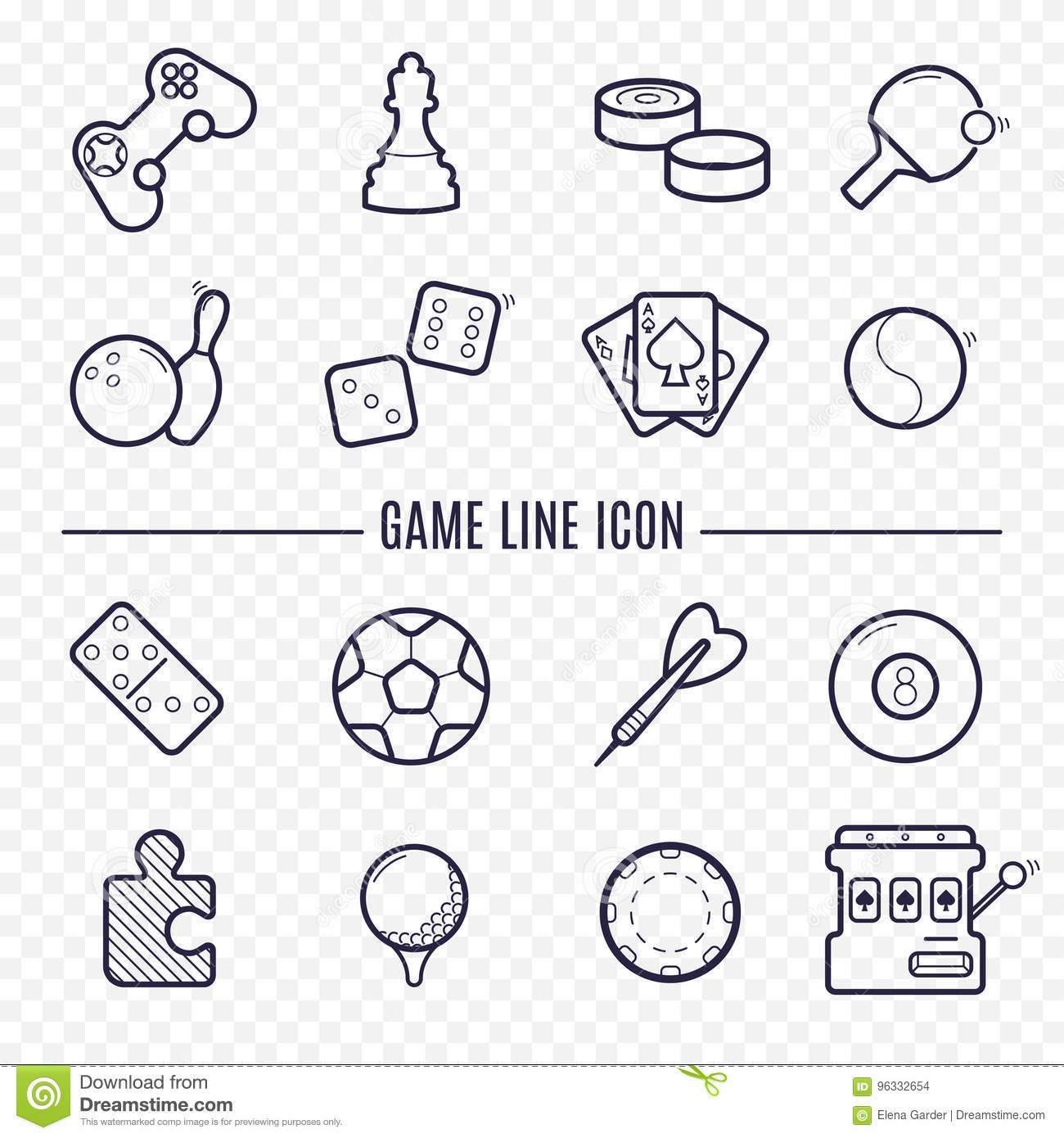 Games Linear Icons Logic Gambling Sports Thin Line Stock Diagram