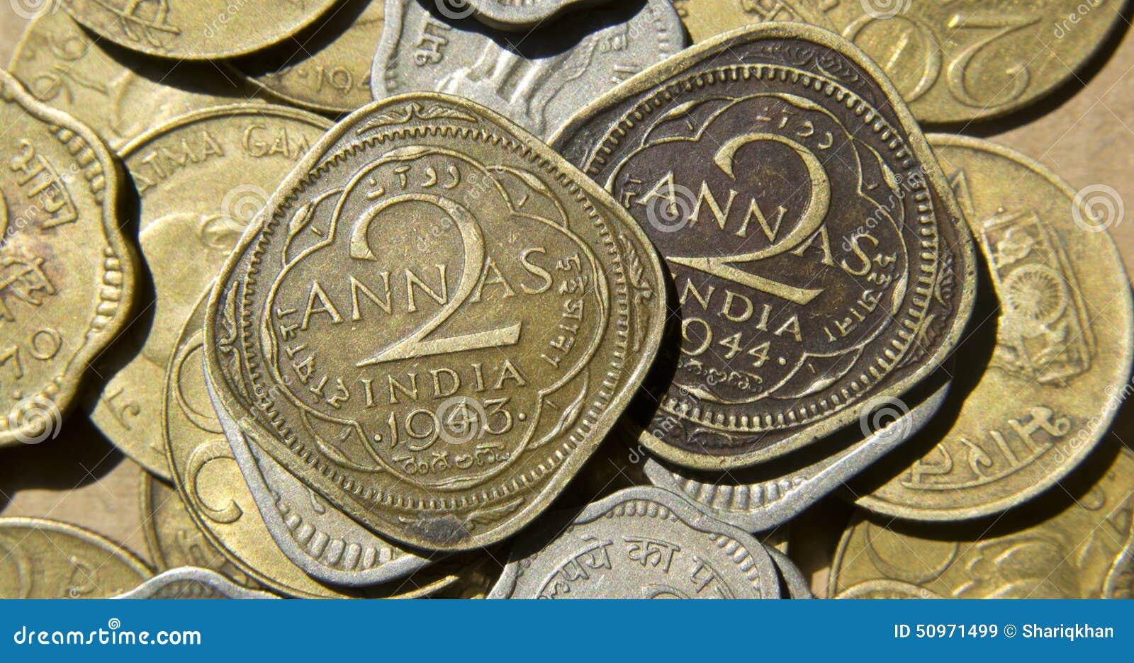 Gamla brittiska Indien mynt