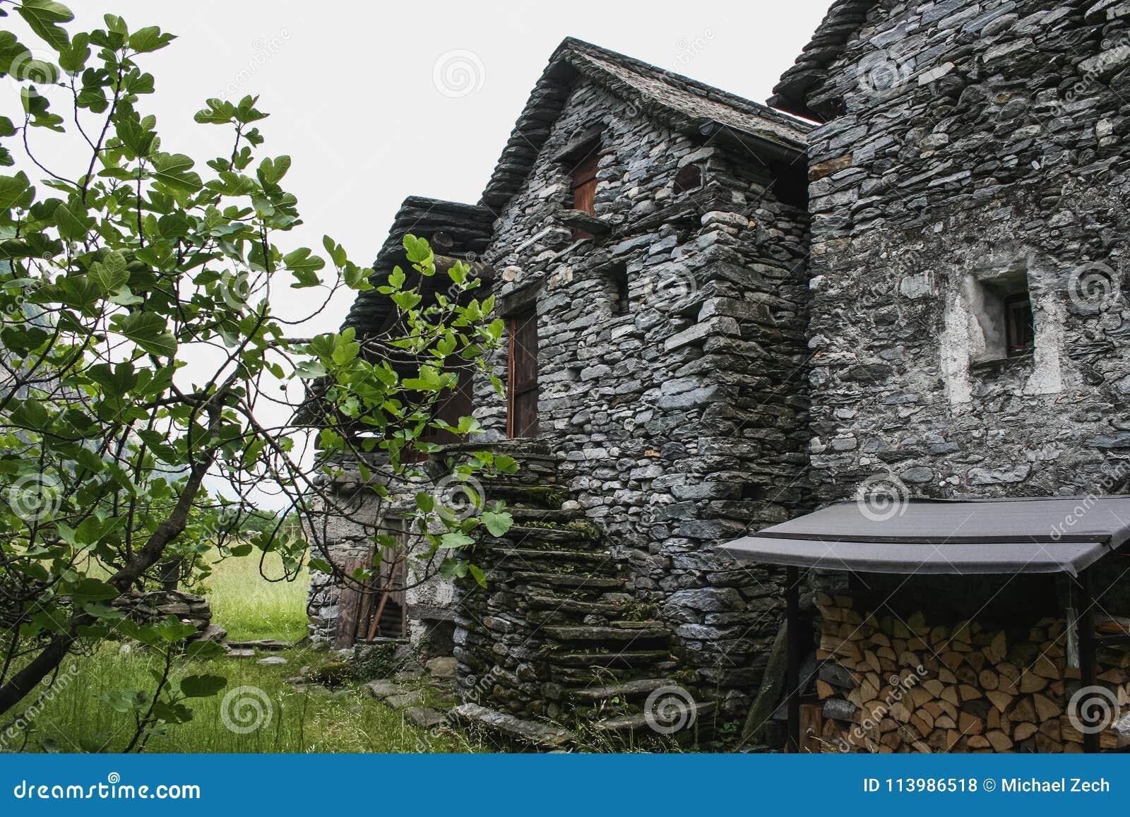 Gamla hus på maggiadaldelen av Schweiz