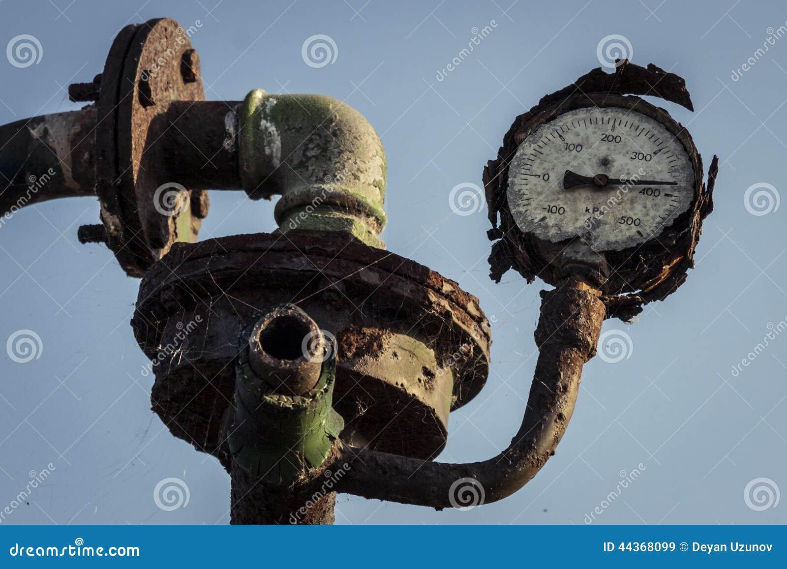 Gamla inte funktionsdugliga Rusty Pressure Gauge