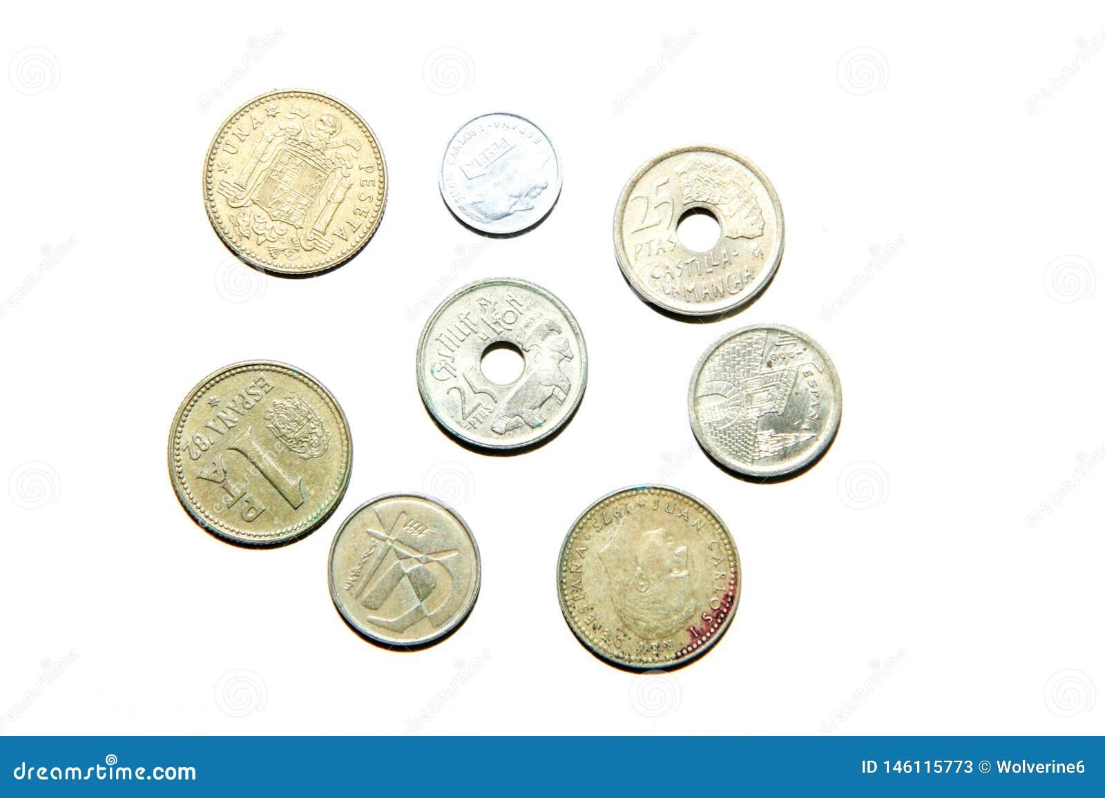 Gamla ogiltiga mynt från Spanien