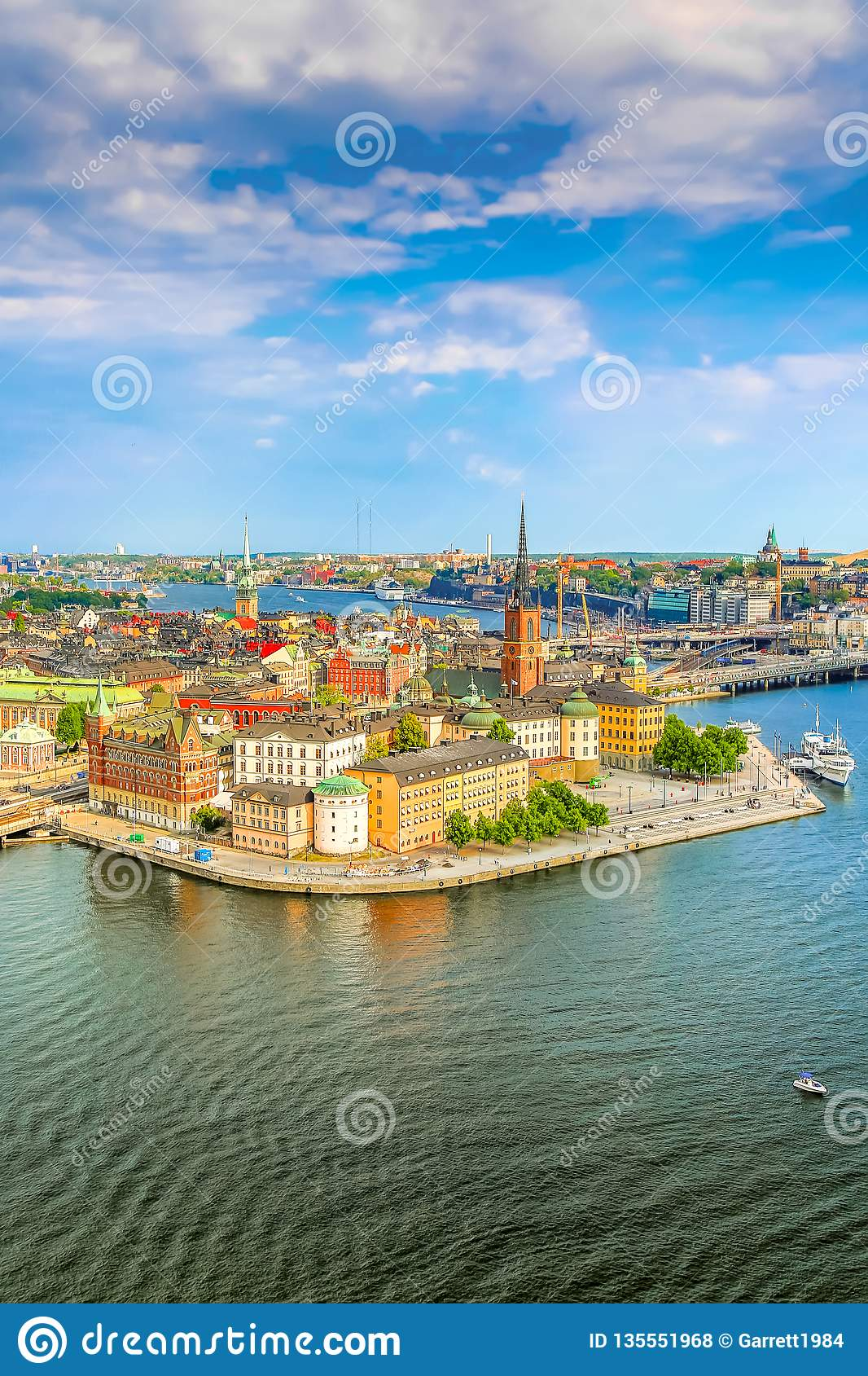 Gamla Stan, the old part of Stockholm in a sunny summer day, Sweden. Aerial view from Stockholm City hall Stadshuset