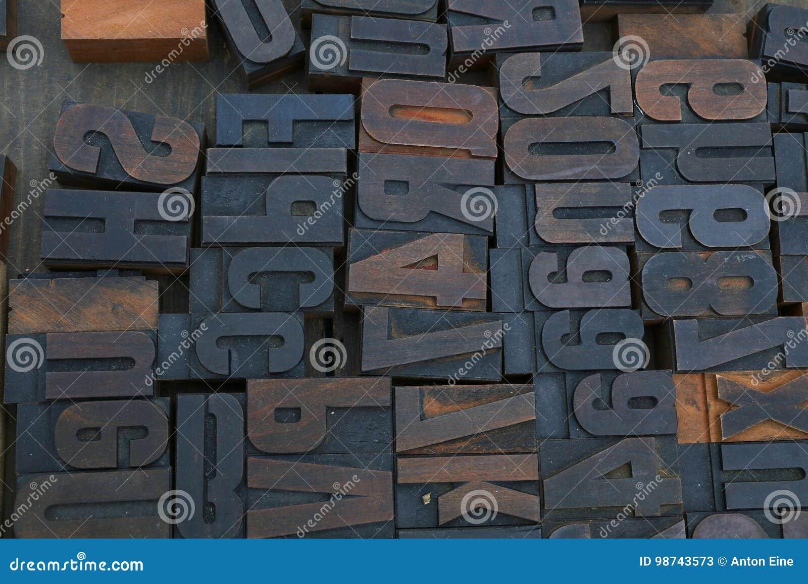 Gamla träkvarter för tappningtypografiprinting