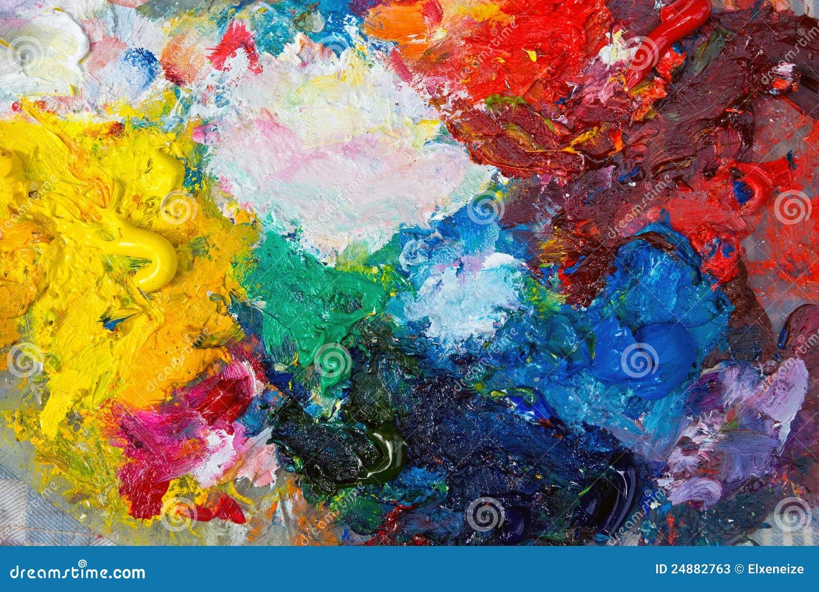 Gamma di colori con la pittura ad olio immagine stock for Tecniche di pittura