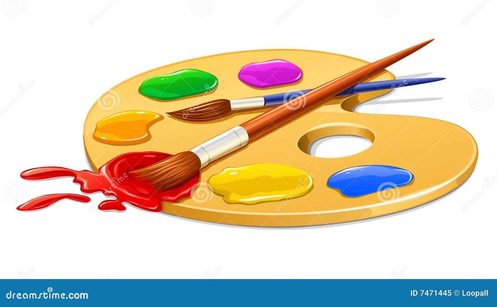 Gamma di colori di arte con vernice e le spazzole