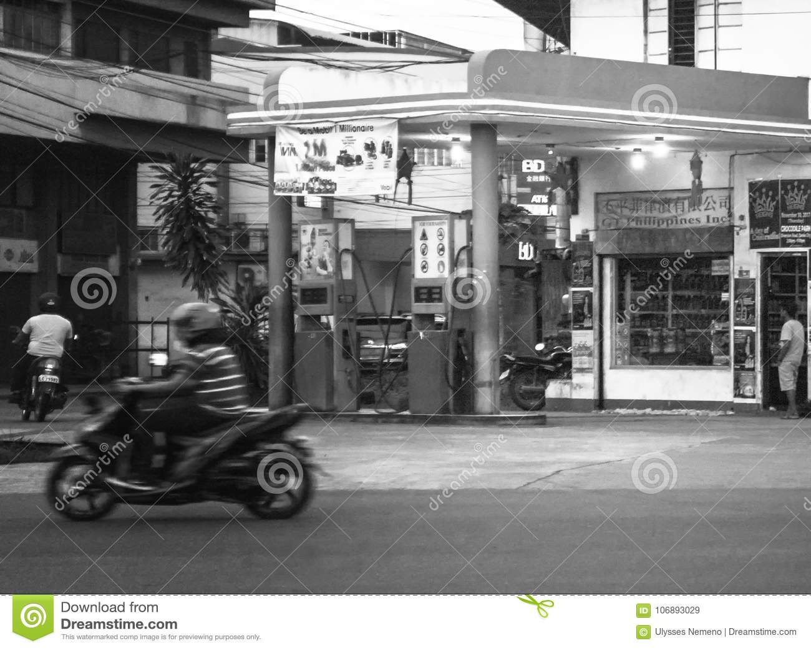 Gammal bensinstation på den Guerrero gatan - Monteverde i den davao staden, Filippinerna