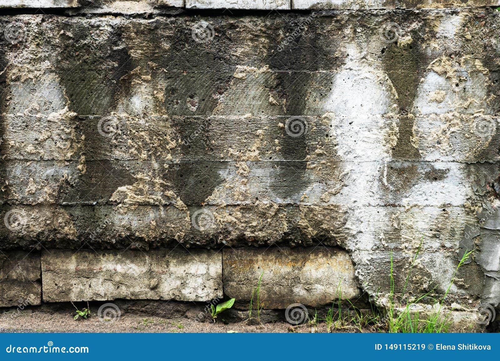 Gammal betongv?gg, med konturer