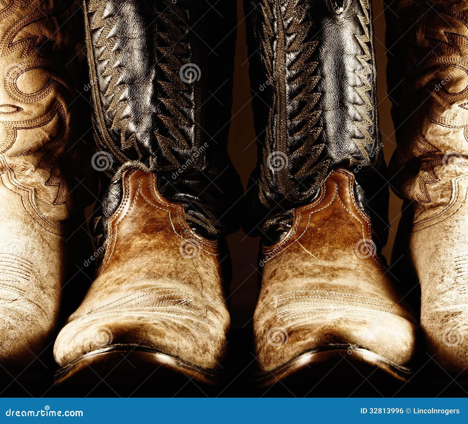 Gammal cowboy Boots - hög kontrast