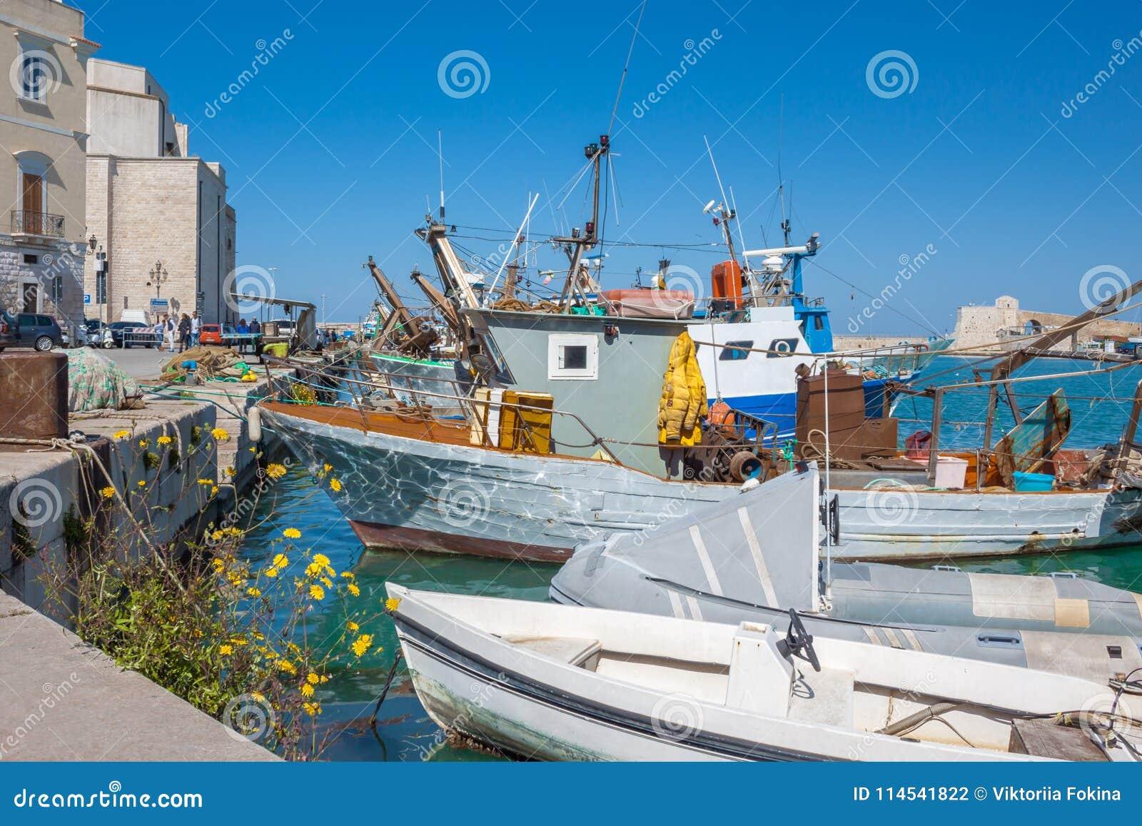 Gammal fiskebåt som parkeras i den italienska stadsporten