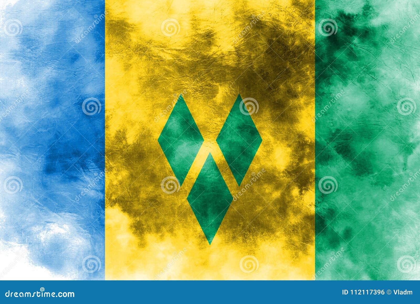 Gammal flagga för Saint Vincent och Grenadinerna grungebakgrund
