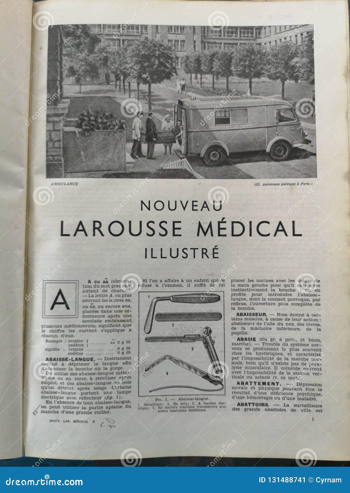 Gammal fransk medicinsk bok med illustrationer