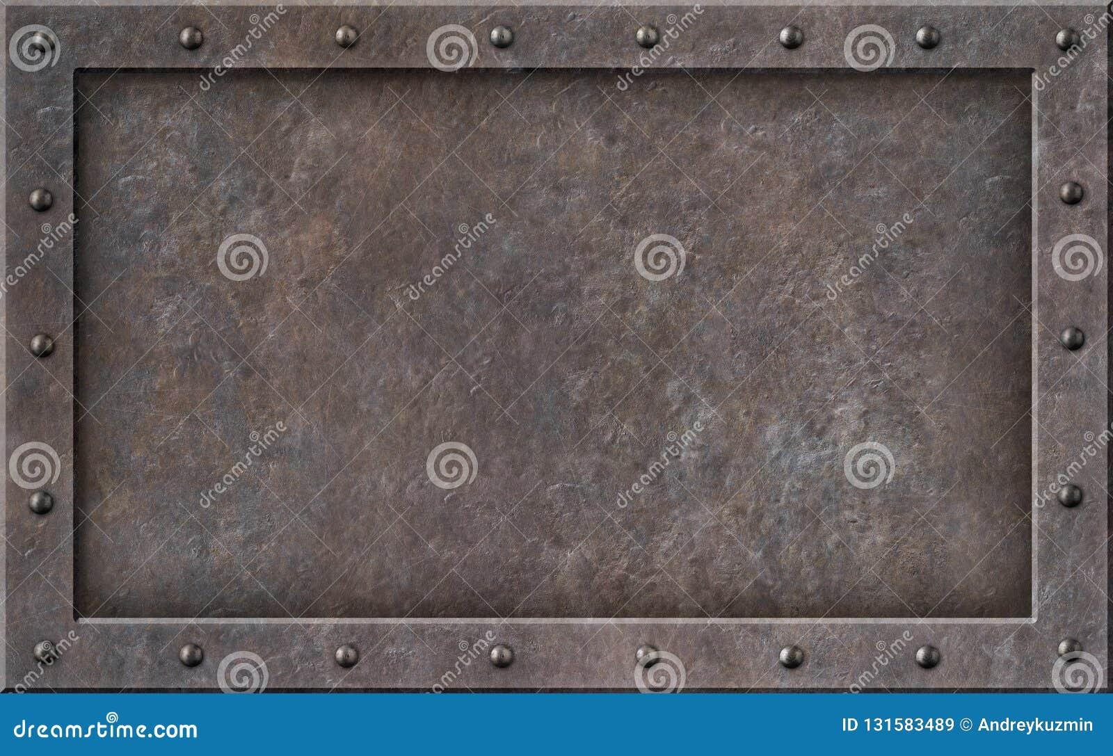Gammal illustration för ram 3d för metallångapunkrock