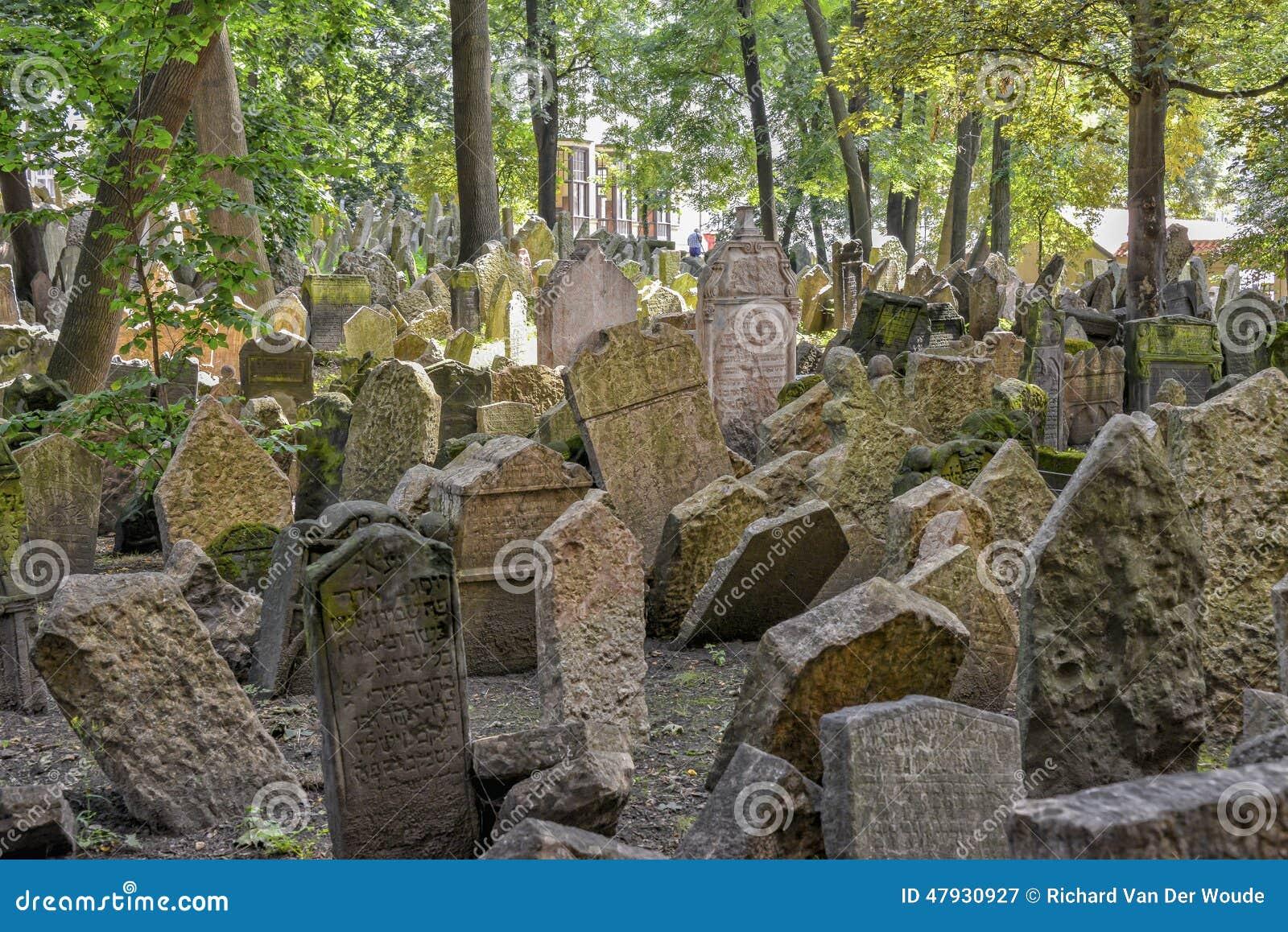 Gammal judisk kyrkogård i Josefov, Prague, Tjeckien
