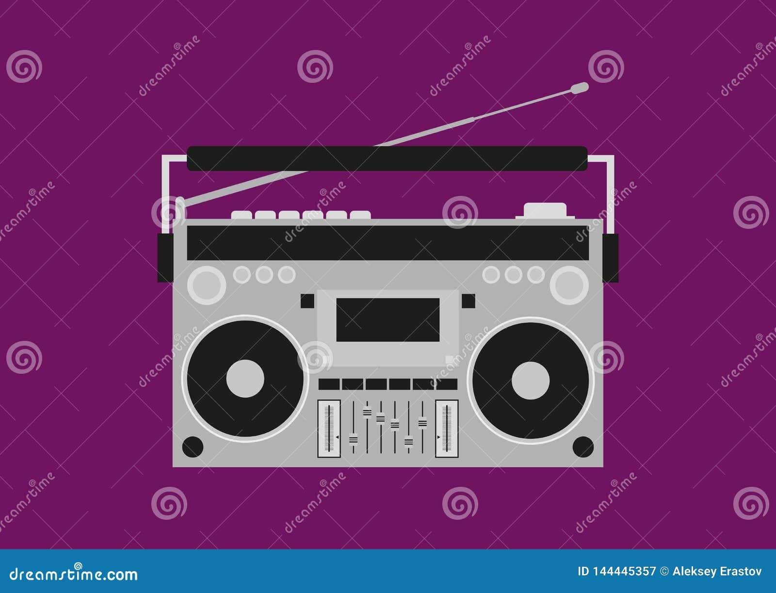 Gammal kassettregistreringsapparat Retro Boombox också vektor för coreldrawillustration
