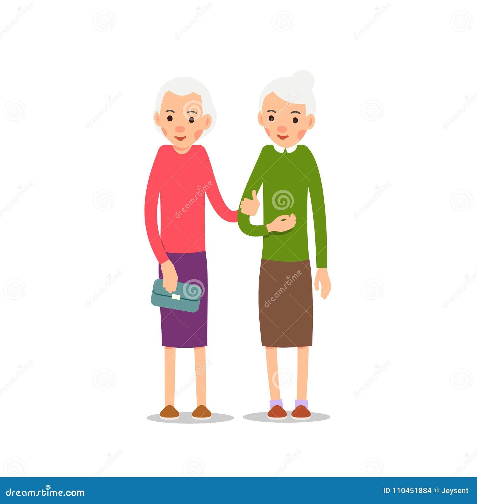Gammal kvinna Pensionär två, äldre kvinnor står med att sloka händer, ca