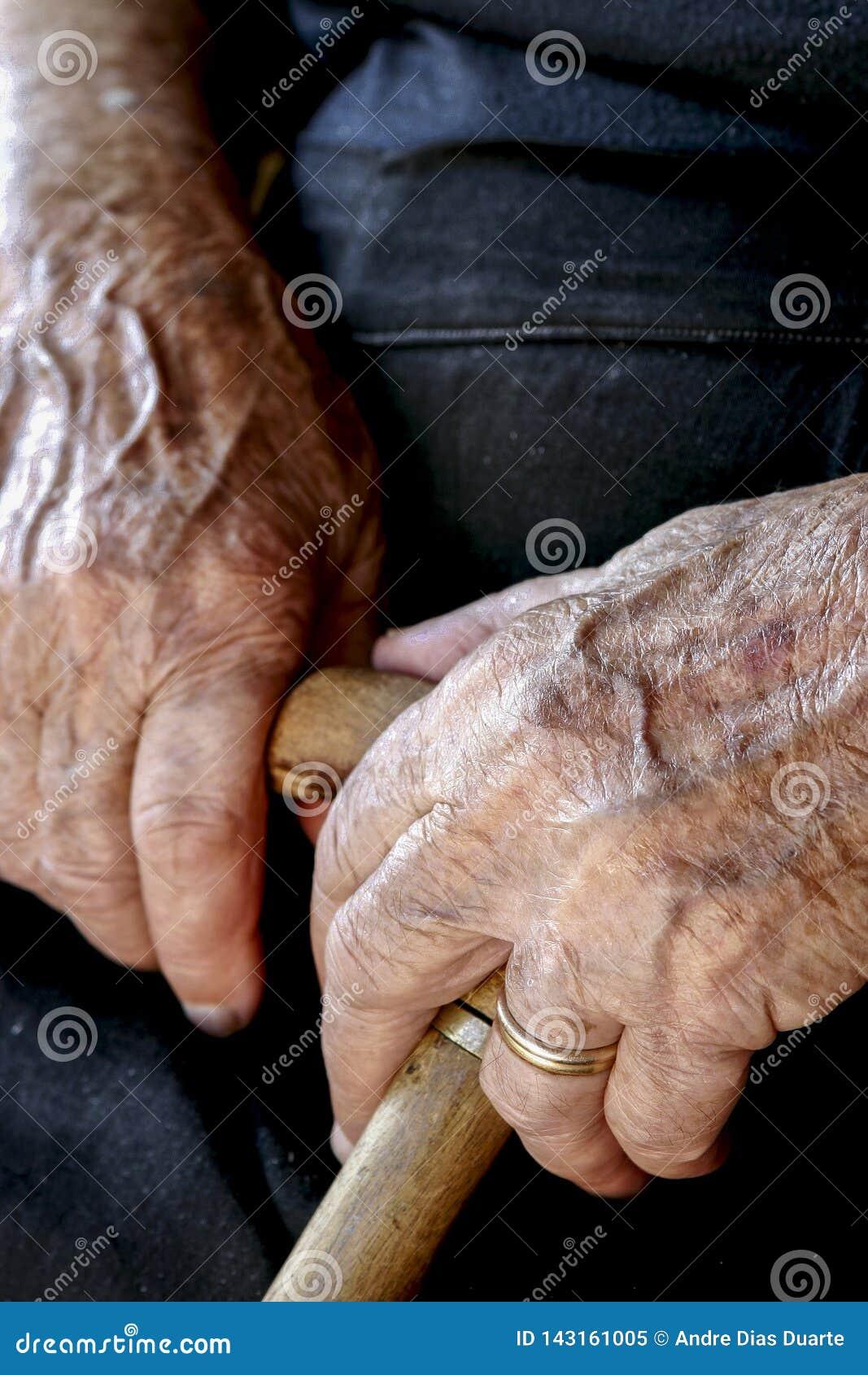 Gammal kvinnas händer som rymmer en rotting