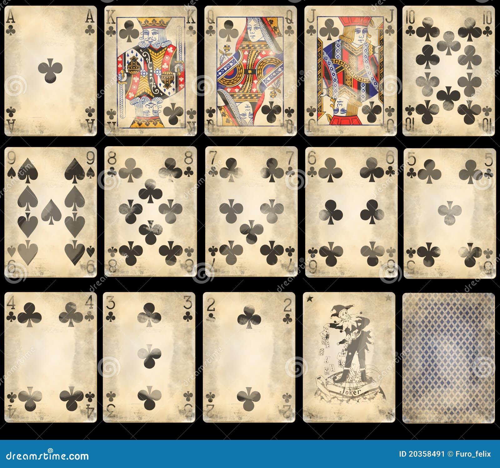 Gammal leka poker för kortklubbor