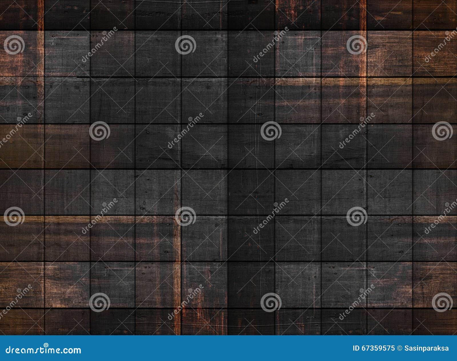 Gammal mörk wood textur med fyrkantiga modeller
