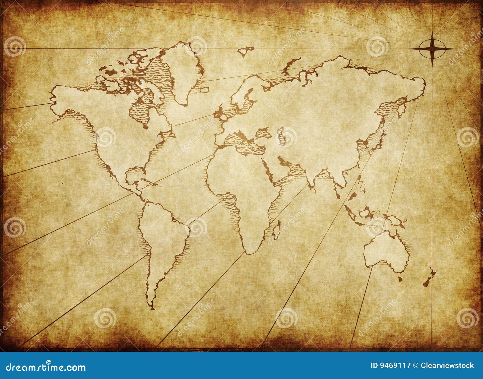 Gammal paper värld för grungy översikt